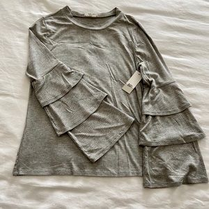 SOLD NWT Ruffle Sleeve Ribbed Sweater